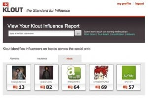 Klout Social Influence Network
