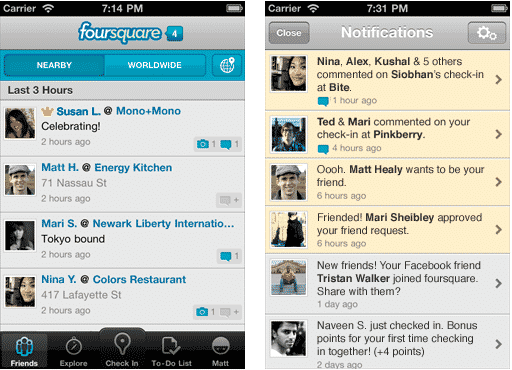 Foursquare Notification Screen