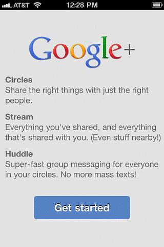 Google Plus Get Started Screen