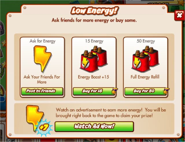 CityVille Low Energy Display Options Screen