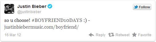 Justin Bieber Twitter Album Tweet