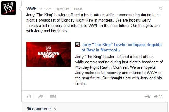 WWE Google Plsu WWE Updates Fans On Jerry Lawlers Condition Via Social Media