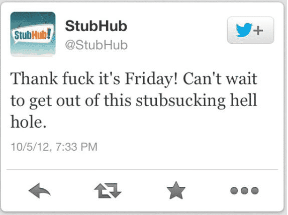 Featured image for StubHub Twitter Account Posts Vulgar Tweet