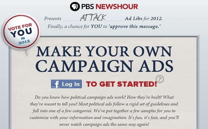 Featured image for PBS Has Fun With Facebook Data: Create Your Own Political Attack Ad