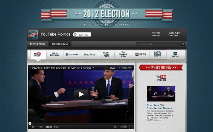 Featured image for YouTube Saw 24 Million Live Views For Presidential Debates