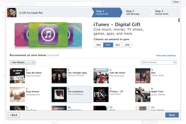 Featured image for Facebook Gifts Now Includes iTunes Gift Certificates