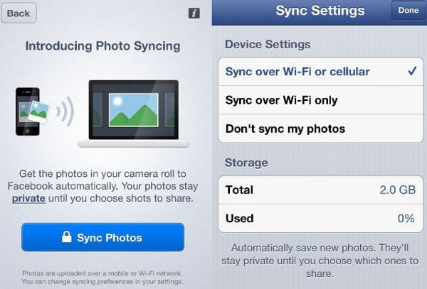 facebook photo sync ios Facebook iOS Users Get Automatic Image Upload Feature