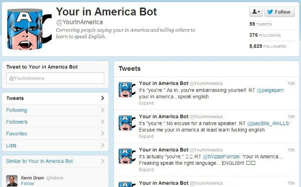 "Featured image for Twitter Account Has Fun With Ignorant ""Your in America"" Tweets"