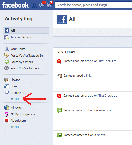Facebook saves your search history heres how to delete it social activity log more link ccuart Gallery