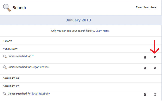Facebook Activity Log Delete History