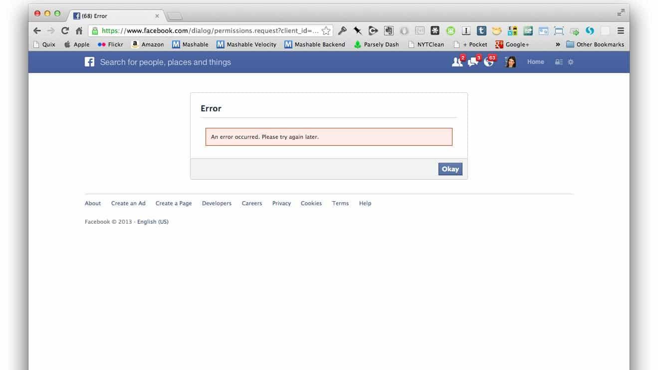 facebook connect error 2013