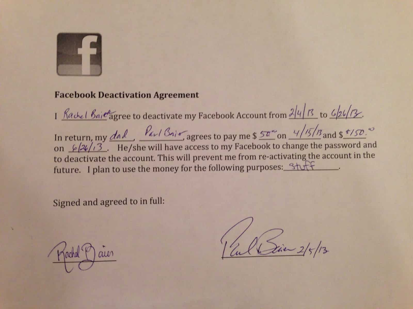 Dad and daughter agree on Facebook contract