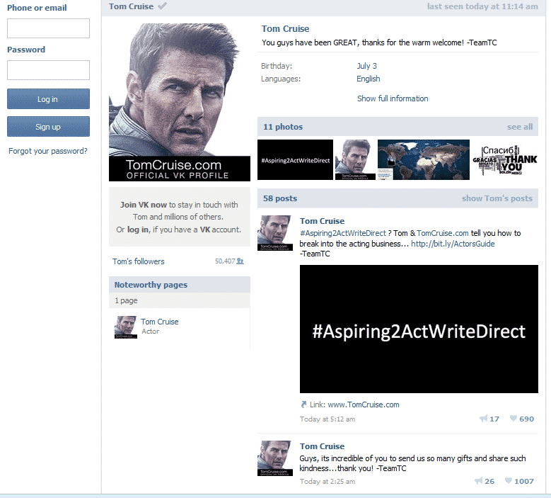 Tom Cruise Joins Russia Social Network Site Vkontakte