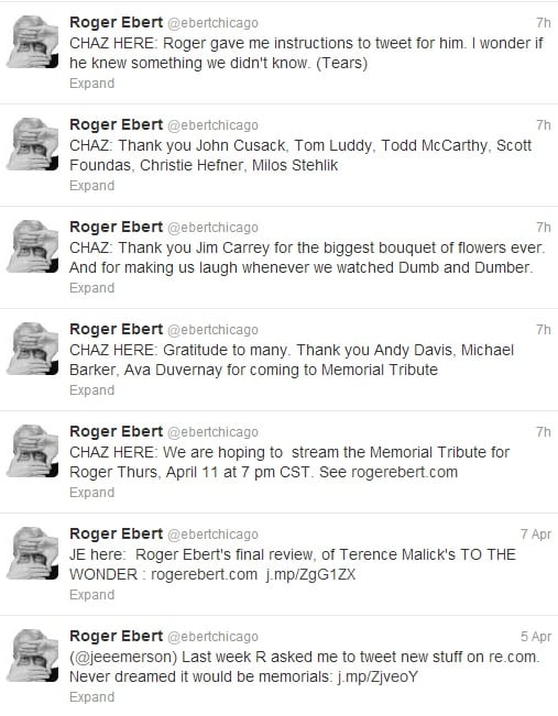 Roger Ebert's post-death tweets