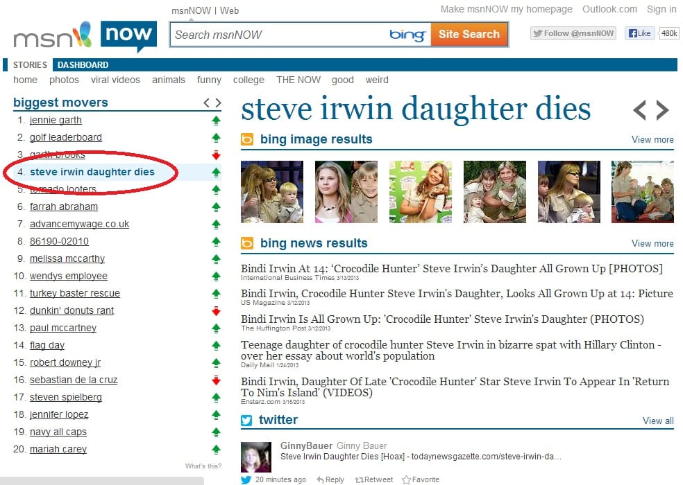 Steve Irwin daughter death