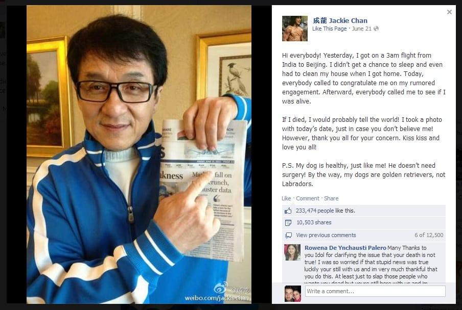 Jackie Chan Facebook hoax