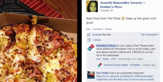 Dominos' Facebook Is Broken: Accepts Compliments By Offering Apologies
