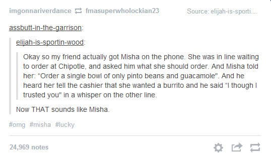 Misha Collins Gives Out Number On Twitter Typing Too