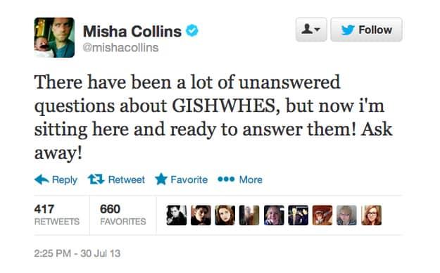 Misha Collins Twitter