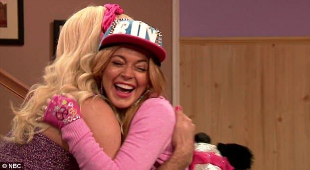 Lindsay Lohan Hugging Jimmy Fallon