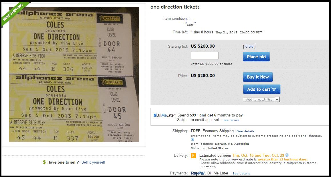 mom puts daughter 39 s one direction tickets on ebay could make 25 000. Black Bedroom Furniture Sets. Home Design Ideas