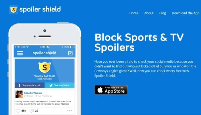 Featured image for Spoiler Shield For iOS Prevents Facebook, Twitter From Ruining Your Favorite Shows