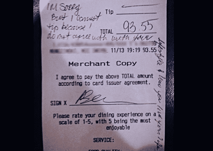 Featured image for Waitress Denied Tip Over Sexuality, Internet Steps In