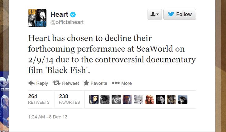 Heart Cancels SeaWorld Performance Over 'Blackfish' Documentary