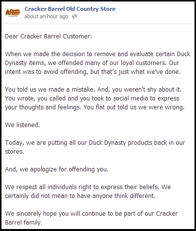 Cracker Barrel Caves Puts Duck Dynasty Items Back On