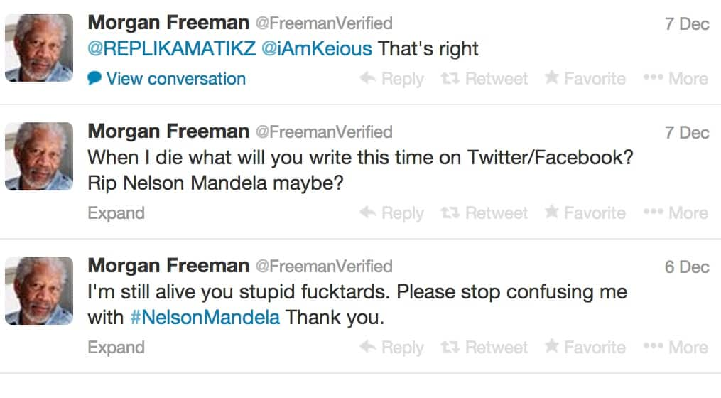 Featured image for Did Morgan Freeman Tweet At 'F*cktards' Confusing Him With Nelson Mandela?