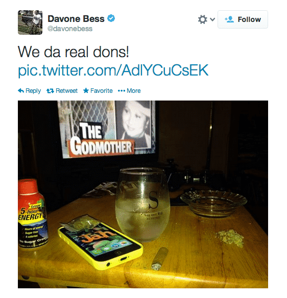 davone bess posts weed photo to twitter team investigating