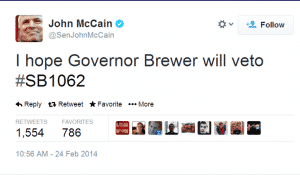 John McCain Tweets Arizona Bill