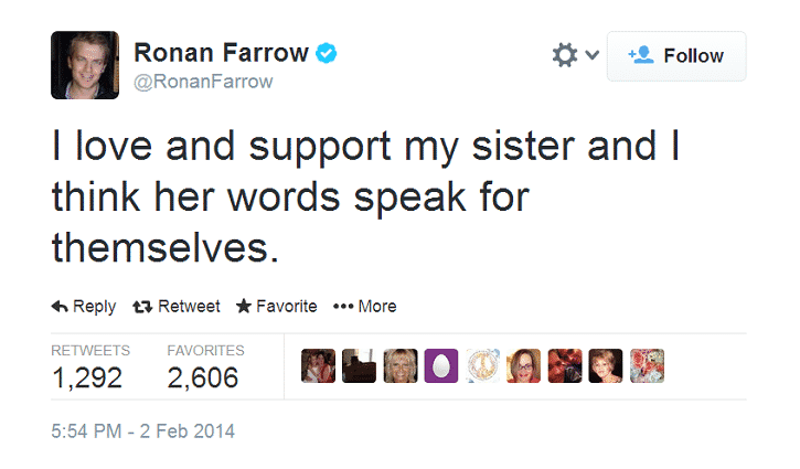 Featured image for Ronan Farrow Tweets Support For Sister Dylan