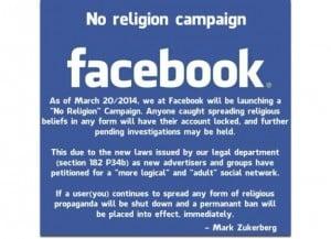 facebook's no religion campaign