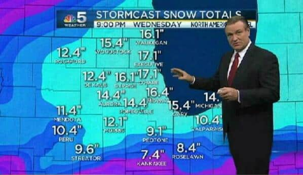 Featured image for Chicago Meteorologist Makes Fun Of Fellow Broadcasters Crazy Snow Predictions