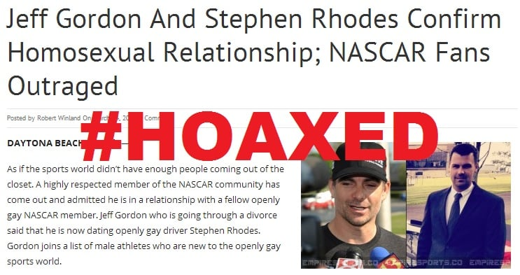 Featured image for Jeff Gordon Gay, Dating Stephen Rhodes? Hardly [Hoaxed]