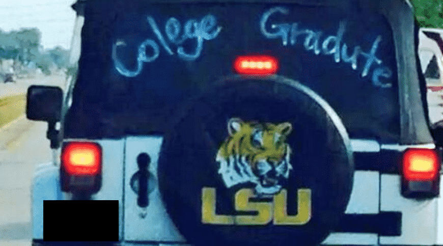 Featured image for LSU 'Colege Gradute' Misspells 'College' And 'Graduate' On Car