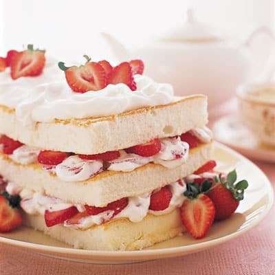 Strawberry Angel Food Layer Cake