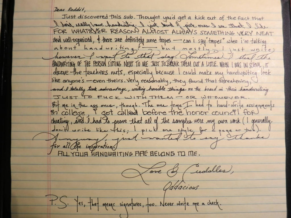 The Greatest Thing A Human Soul Ever Does In This World: Penmanship Porn: One Person's Handwriting Stuns The Internet