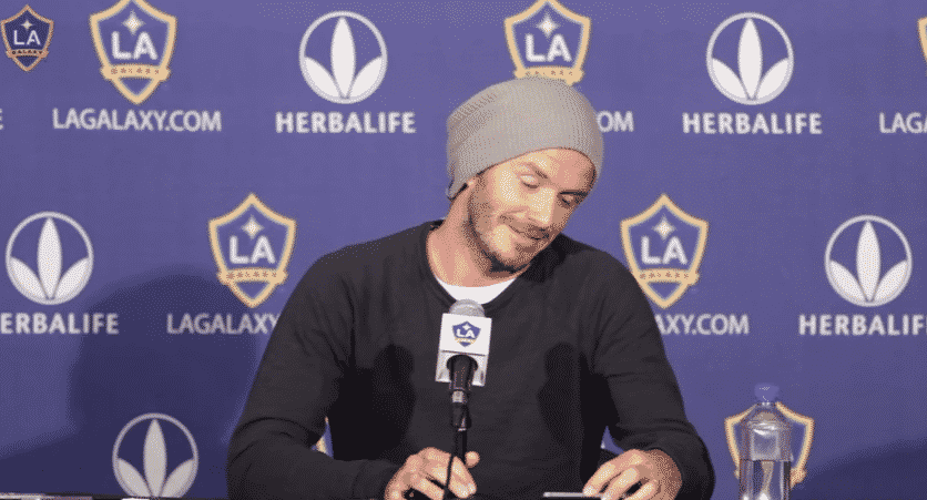 David Beckham shares a laugh at LA Galaxy press conference - YouTube