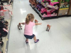 Little girl recreates Jurassic World meme