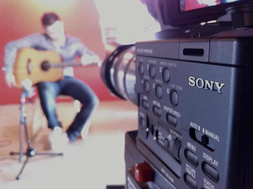 Luca Stricagnoli prepares to shoot a video