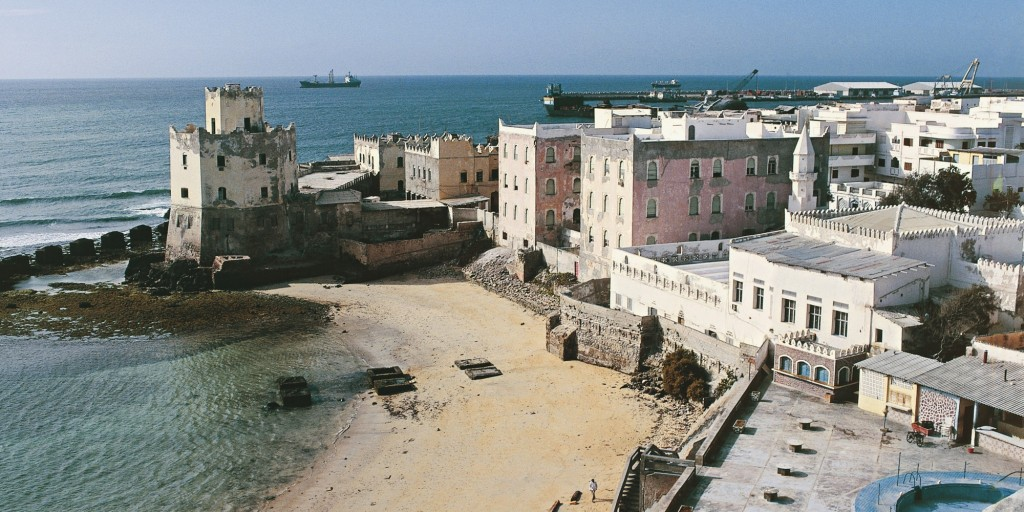 High angle view of buildings on the beach, Mogadishu, Somalia