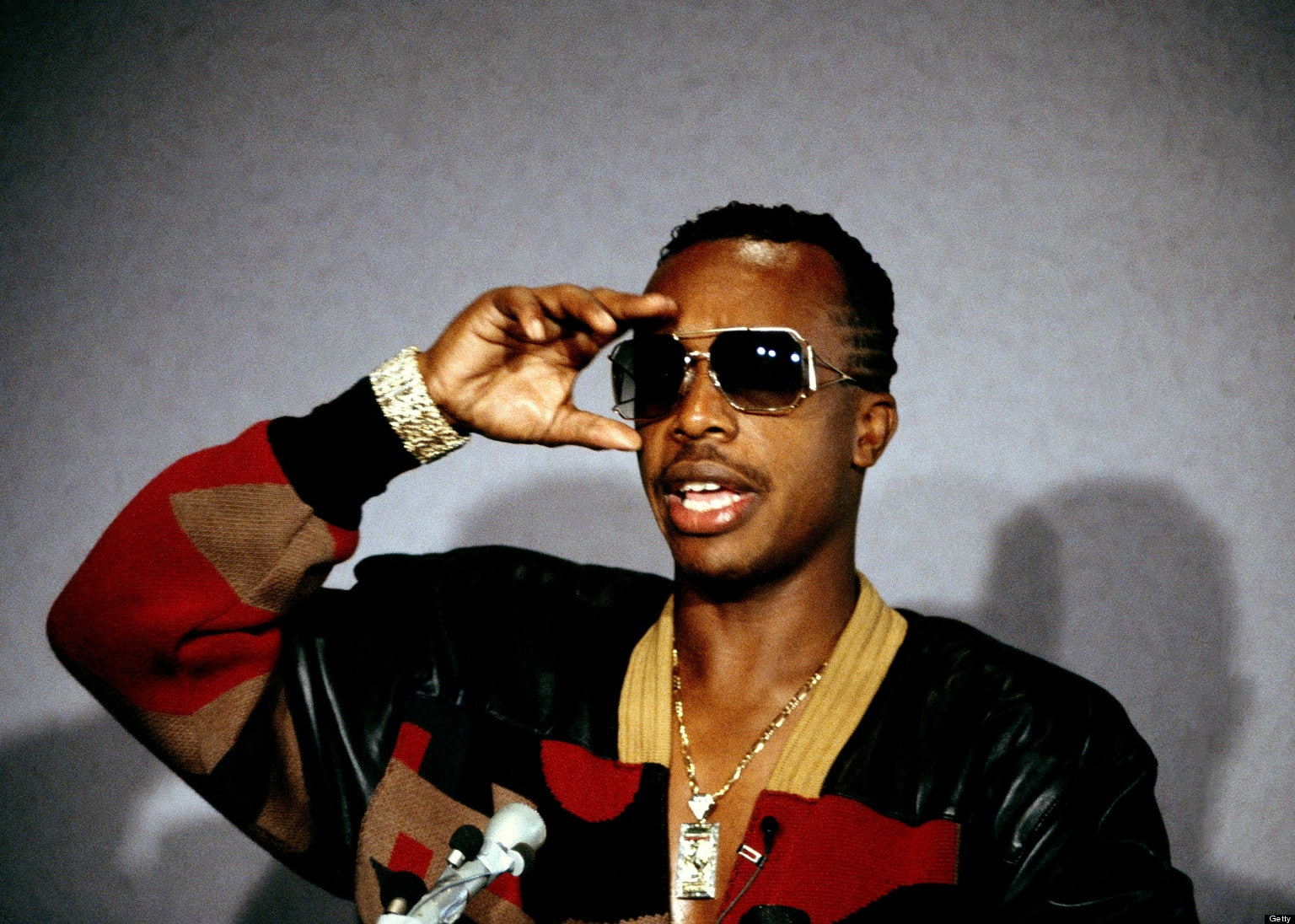 LOS ANGELES, USA - 1st SEPTEMBER: American rapper MC Hammer appears at a press conference in Los Angeles, USA in September 1990. (Photo by Jan Persson/Redferns)