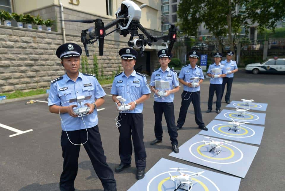 Nanjing police officers practice drone flight.