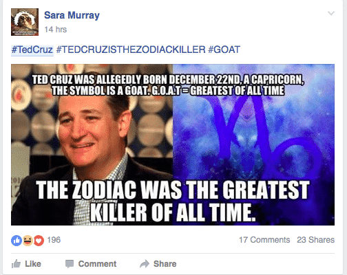 Screen shot 2016 03 11 at 1.39.39 PM in a hilarious turn, the internet wants ted cruz to be the zodiac