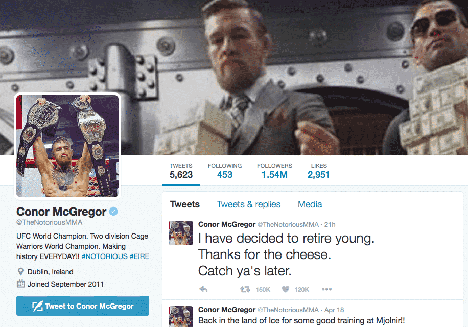 Featured image for UFC Superstar Conor McGregor Just Retired With A Tweet