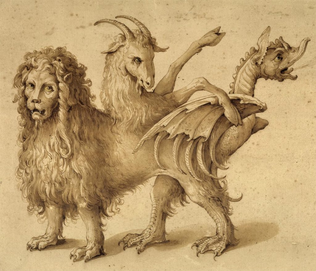 Archaic illustration of the mythological Chimera, with a dragon's head for a tail.