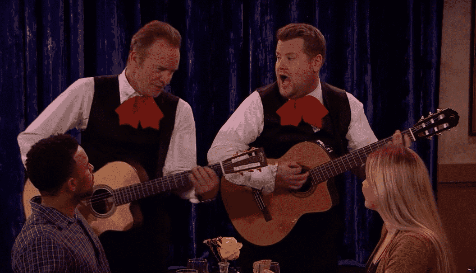 Featured image for James Corden and Sting Battle It Out as Singing Waiters