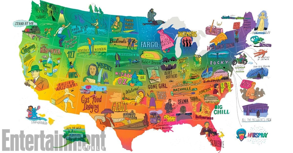 Featured image for Entertainment Weekly Puts Out U.S Map Marked By Movies Made in Those Locations